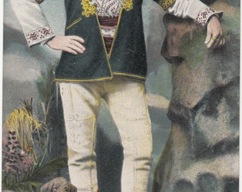 Villageois Novoseltzi Novosti Man Dressed In Bulgarian Traditional Costume Antique Postcard