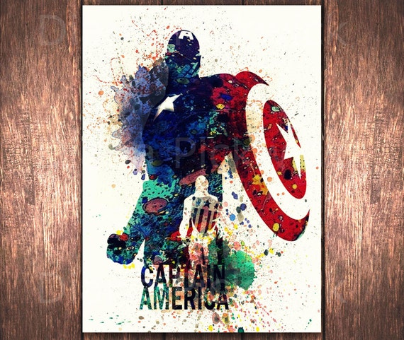 Avengers Watercolor: Captain America A3 Superhero Watercolor Digital By DidiPrint