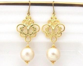Chandeliers: Patina Cotton Pearl Earrings, Titanium Earrings for Sensitive Ears, Bridal Pearl Earrings, Bridesmaid Earrings, Hypoallergenic