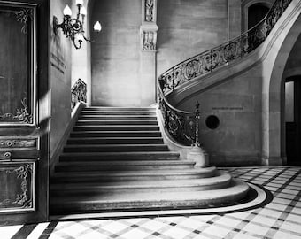 Paris black and white photography, Paris photography, black and white photo, Paris interior, French staircase, architecture, fine art print