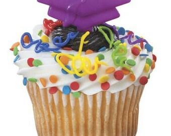 24 Purple Graduation Cap Cupcake Picks Cake Toppers Hats Decorations