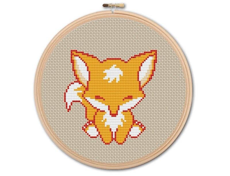 Cute Baby Fox, Counted Cross Stitch, Pattern Pdf, Cross Stitch