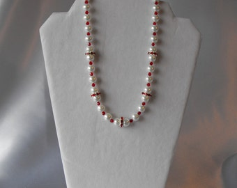 Swarovski Pearls and Crystals- Pearl Necklace - White Pearls      (BD-878)