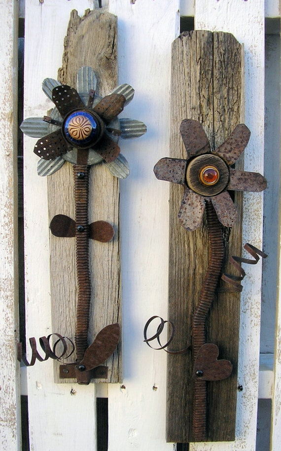 Rustic Wall Decor Set : Rustic decorative flower wall art set of hanging