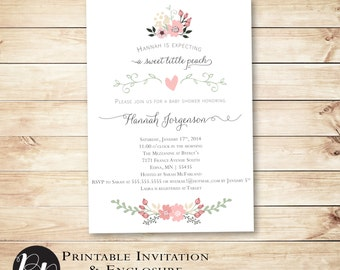 Printable Baby Shower Invitation Sweet Georgia Peach // Spring, Summer, Floral, Flowers, printable, DIY, digital file // Hewitt Avenue