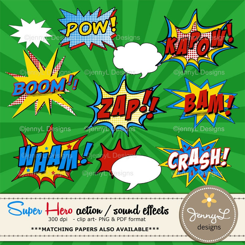 Comic Book Action Bubbles Comic Book Action Words