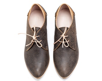 Grey Leather Lacing Shoes / Unisex Leather Shoes / Mens Leather Shoes / Women Leather Shoes / Flat Casual Shoes / Office Wear - Adrian