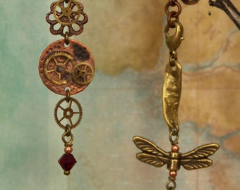 Brass Gears Silver Soldered, Copper Hammered Disc, Dragon Fly, Red Swarovski Crystals, Steampunk Earrings – Hand Made Wearable Art, Jewelry
