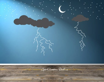 Lightning Cloud Decal Storm Clouds Wall Decal Weather Wall Decal Rain Decal Storm Decal Night Sky Crescent Moon Decal