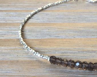 SALE Smokey Quartz and Fine Silver bead Bracelet, Beaded Bracelet, Gemstone Bracelet