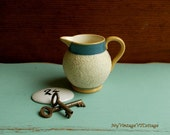 Antique English Yellow Ware Creamer 1800s - Gravel Ware or Sand Ware - Sweet Little Pitcher with Applied Handle