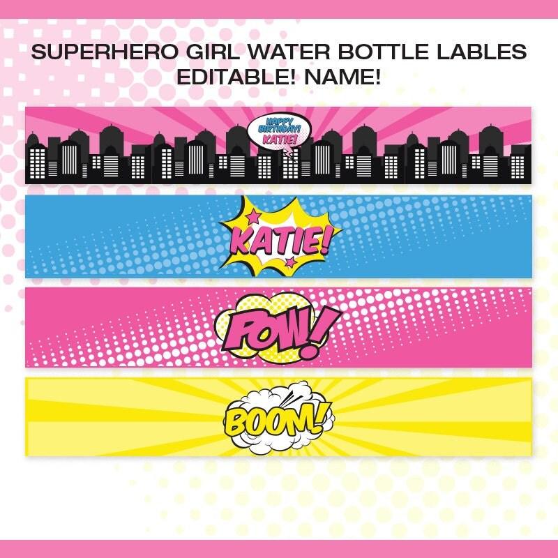 superhero girl water bottle labels editable name 4 designs
