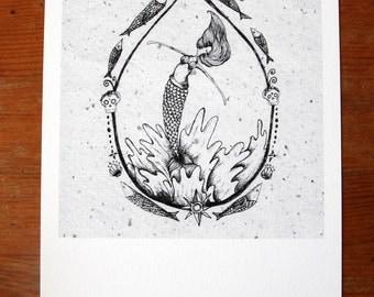 Mermaid, Giclee print. Nautical