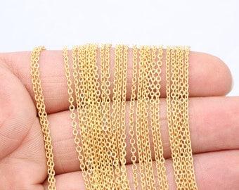 49,5 Feet 24k Matt Gold Plated Chains 1,5x2mm Rolo Chains , Gold Plated Chains , Brass Chains - ...