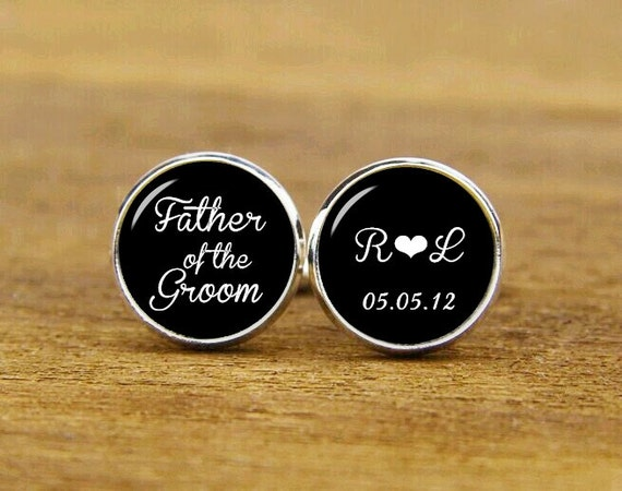 father of the groom cufflinks, custom initial and date, wedding gift, wedding cuff links, custom round or square cufflinks & tie clip or set