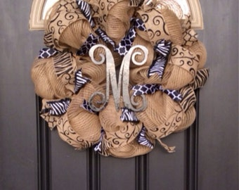 Monogram Burlap Deco Mesh Wreath,Everyday Monogram Wreath, Black Deco Mesh Wreath