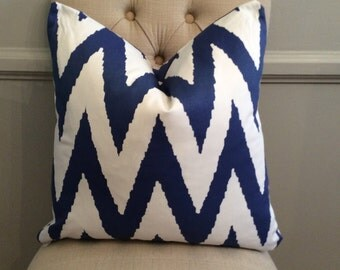 Handmade Decorative Pillow Cover - Zig Zag - Chevron - Navy