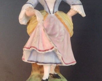 German Porcelain 19th Century Statuette Of Dancing Lass With Hair Flower