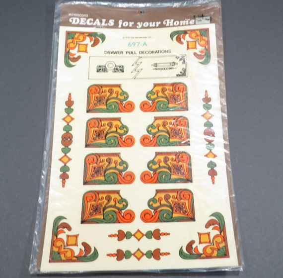 Drawer pull decorations meyercord retro 1970s decals nos for Telephone mural 1970