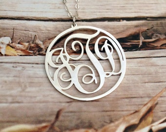 "3 Initial Monogram Necklace Sterling Silver Monogram Necklace 1.5"" Circle Personalized Necklace Christmas Gift Custom Necklace -%100Handmade"