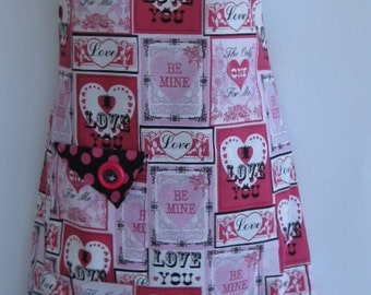 Valentines, retro style, reversible, lined,full plus size apron, pink and black