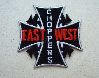 East Coast Choppers - West Coast Choppers Embroidered Iron On Patch Biker Iron Cross Patches