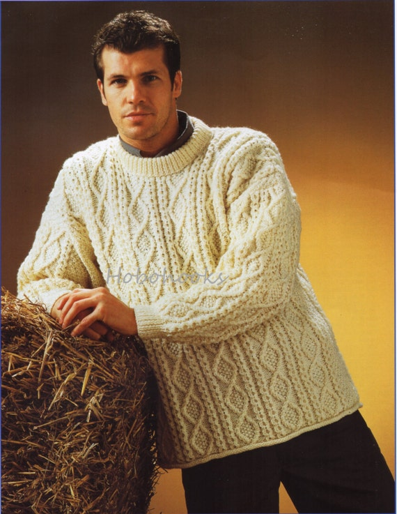 Knitting Patterns Aran Cardigan Mens : mens aran sweater knitting pattern PDF larger sizes mens aran