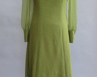 Super 70s Avocado Green Dress