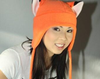 Naruto Orange Fox Hat - Fox Hat - Orange Fox Hat - Orange Fox Fleece Hat - Fox Aviator - Earflap Hat - Cosplay Hat - Anime Costume - Manga