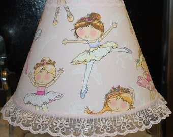 Girl Nursery Pink Ballerina Lamp Shade With Lace Trim