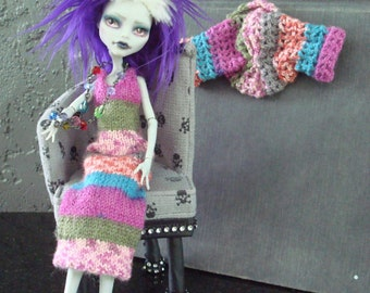 Monster High OOAK Custom Fashion Micro Knitwear Sweater Dress with Crocheted Shrug and Crocheted Belt or Hair tie Candy Stripes Gone Wild