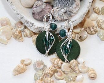 Dark Green Earrings, Forest Green, Hunter Green, Wire Wrapped Jewelry, Dangle Earrings, Big Earrings, Gypsy Jewelry, Christmas Earrings