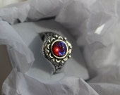 Dragons Breath Fire opal ring, 7mm, Victorian setting, silver renaissance setting adjustable ring base.