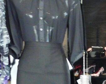 Transparent Blouse See Through Top Pin Up Sheer Burlesque Button Up Women's Shirt Rockabilly Studded Collar Collared Spike Clothing Grunge
