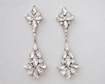 Wedding Earrings - Chandelier Earrings, Bridal Earrings, Vintage Wedding, Crystal Earrings, Dangle Earrings, Wedding Jewelry - JULIET