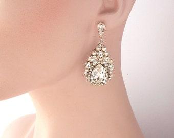 Wedding Earrings, Chandelier Bridal Earrings, Pearl Earrings, Vintage Wedding, Crystal Earrings, Dangle Earrings, Wedding Jewelry - PAIGE