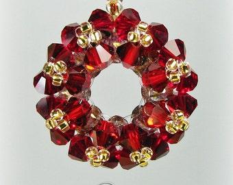 Christmas Wreath Necklace, Swarovski Crystal Pendant Necklace, Garnet Red Crystal Pendant, Christmas Jewelry, Christmas Gifts / Wreath N-003