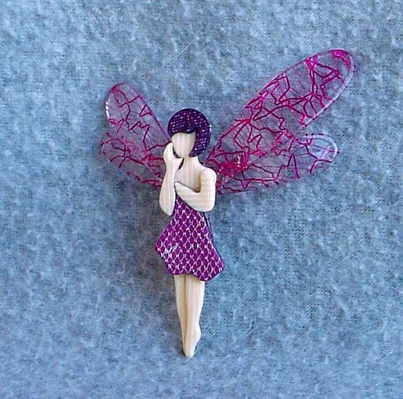 "Lea Stein Fairy Pin 3"" Tall Tinkerbell Brooch Signed Paris France Pink Lace Wings Celluloid Laminate Vintage Costume Jewelry Glitter Cream"