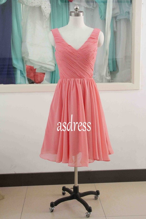 Coral bridesmaid beach wedding dresses sexy v neck red by for Coral bridesmaid dresses for beach wedding