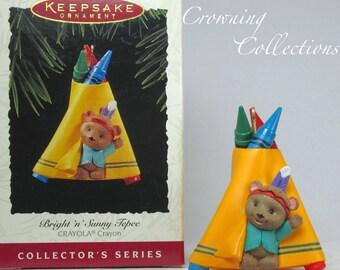 1995 Hallmark Bright N Sunny Tepee Ornament Crayola Crayons Series #7 Keepsake MIB