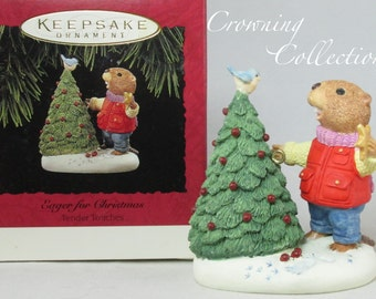 1994 Hallmark Eager for Christmas Ornament Keepsake Ed Seale Beaver Tender Touches Tree
