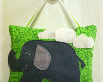 Lime green and gray elephant tooth fairy pillow