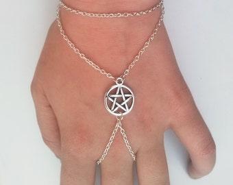 Pentagram Slave Chain Bracelet , Slave Bracelet , Pentagram Bracelet , Pentacle Bracelet , Pagan Bracelet , Wicca Bracelet , Wiccan Jewelry
