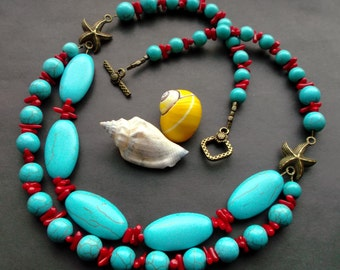 necklace turquoise Red corals. necklace two rows. necklace stones. turquoise blue. Red corals. Gemstones. details Antique Brass.