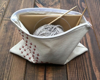 Hand-Embroidered Cross Project Pouch