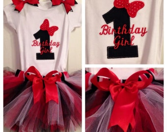 Personalized First Birthday Shirt with Bows. 1st 2nd 3rd 4th 5th. Custom Made Little Girl Bodysuit. Embroidered Minnie Mouse Bow shirt