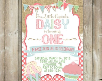Shabby Chic Birthday Party Invitation - Girls First Birthday Party Invite - Cupcakes - Digital File - Print Yourself