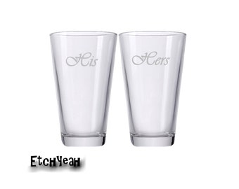 His and Hers Personalized Beer Glasses / Set of 2 Tumblers / Add Your Date / Custom Engraved Glasses / Beer Glass / Wedding Gift / Barware