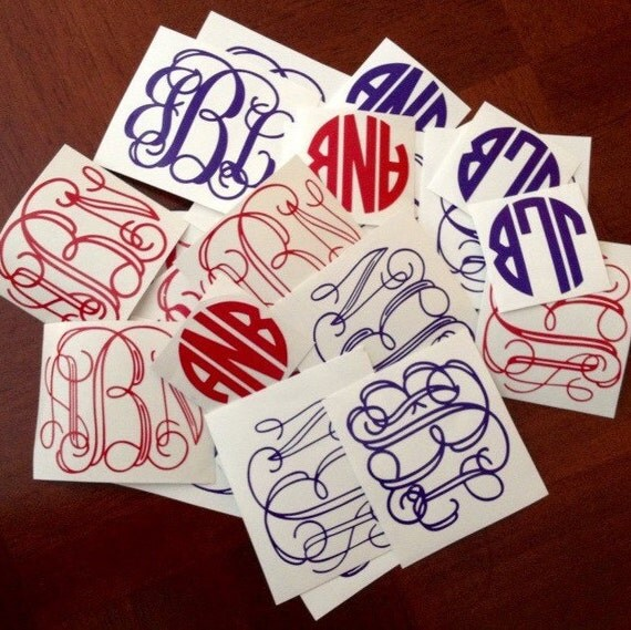 Vinyl Monogram, School Supplies, Bridal Party gift, Yeti Cup Decal, 2 inch monogram, birthday party favor, tumbler decal, monogram sticker