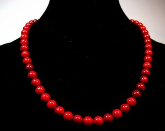 Red coral necklace Natural Coral necklace Natural beads necklace